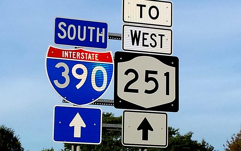 Take I-390 to Route 251 West